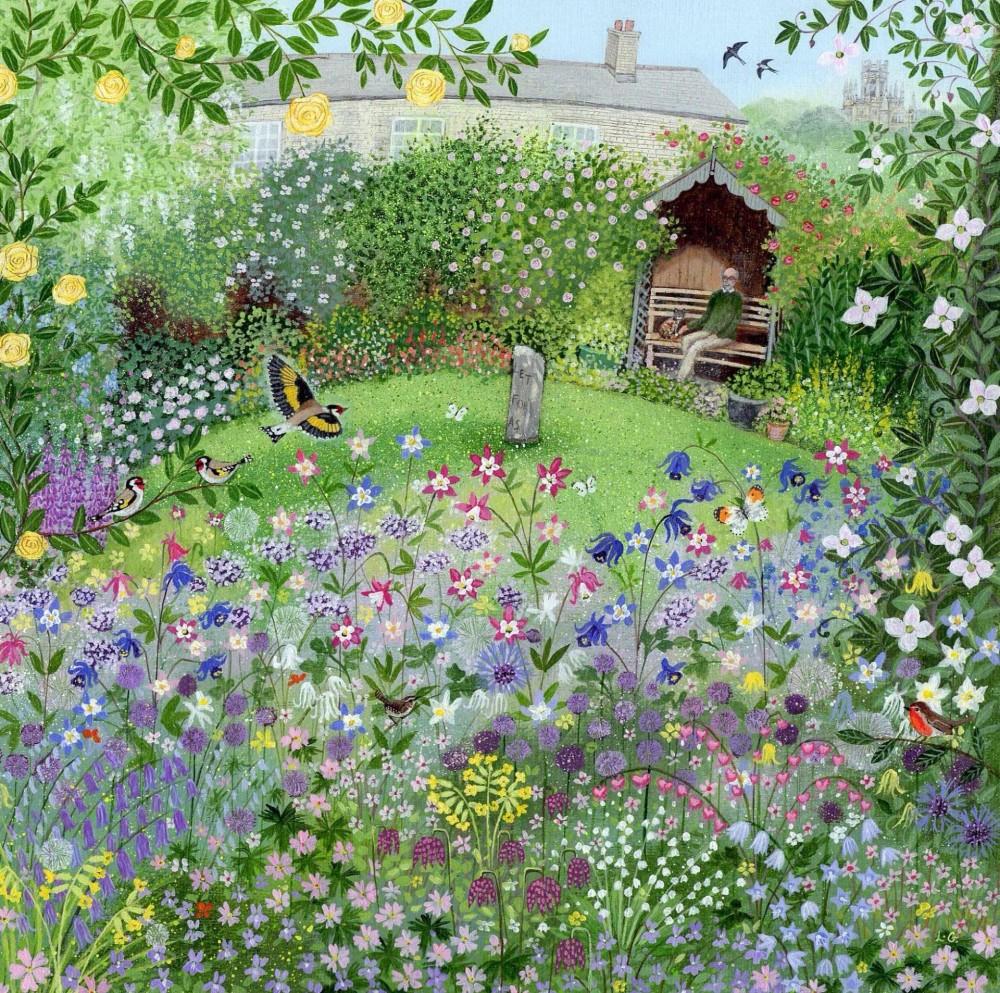 8-Garden_with_Aqualegias_and_Goldfinch.jpg